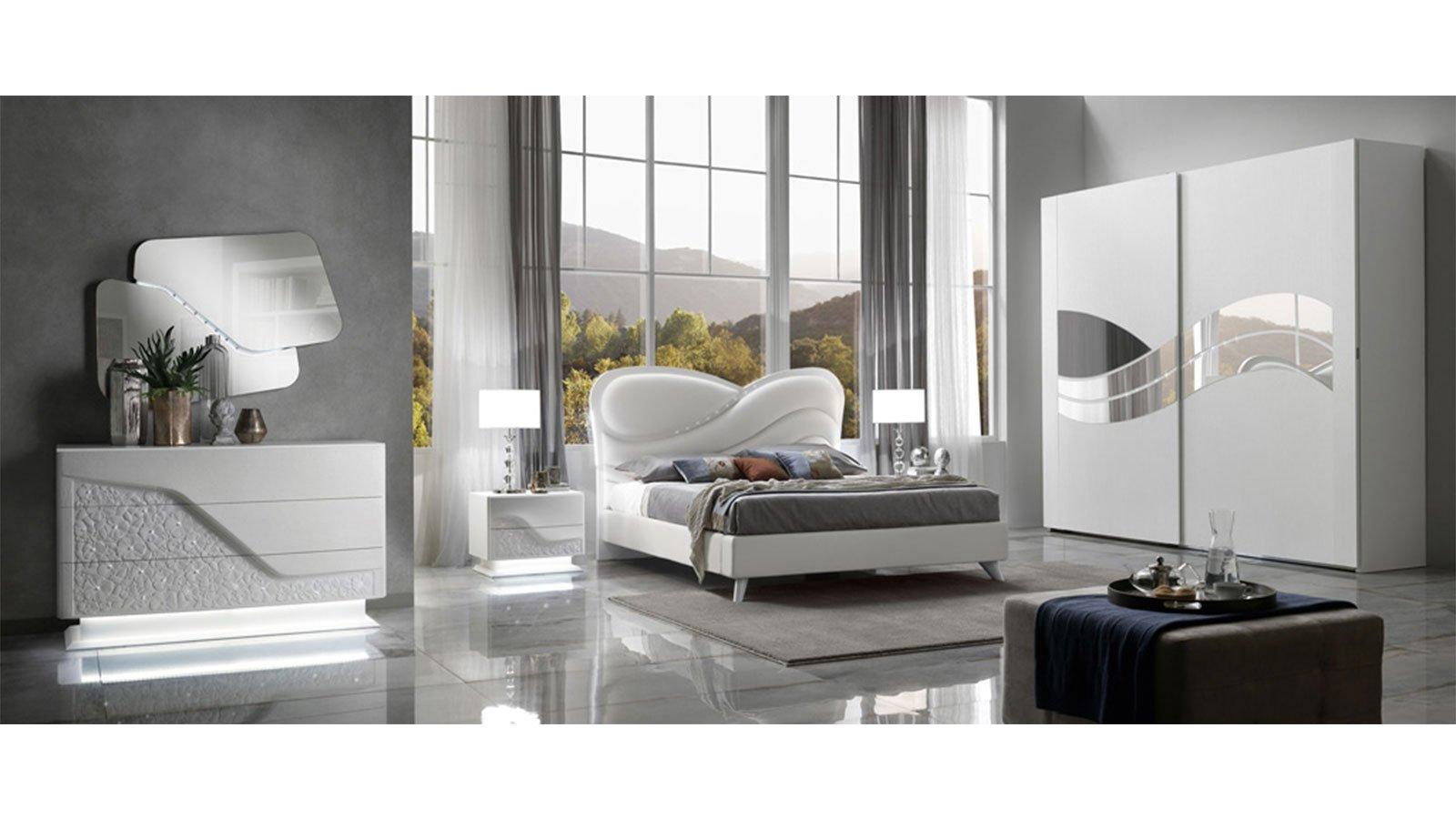 Camera da letto matrimoniale con armadio tre ante scorrevoli e letto con box contenitore. Camera Da Letto Incanto Nikasa Shop Online Arredamento
