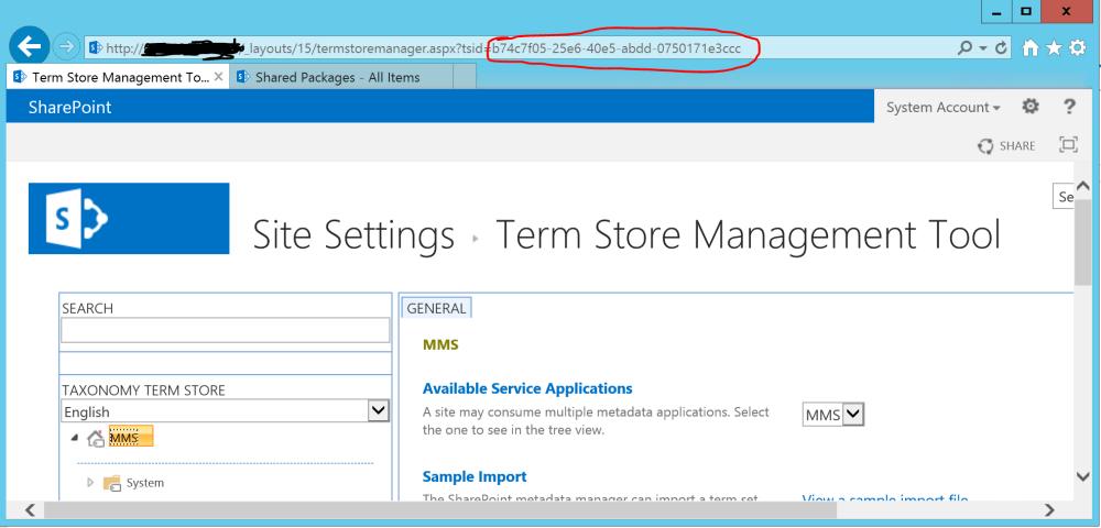 Managed Metadata Service Application ID