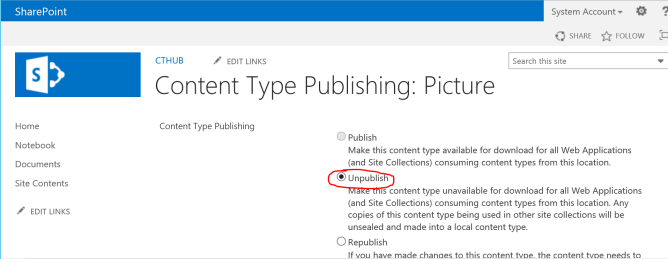 SharePoint Unpublish a Content Type