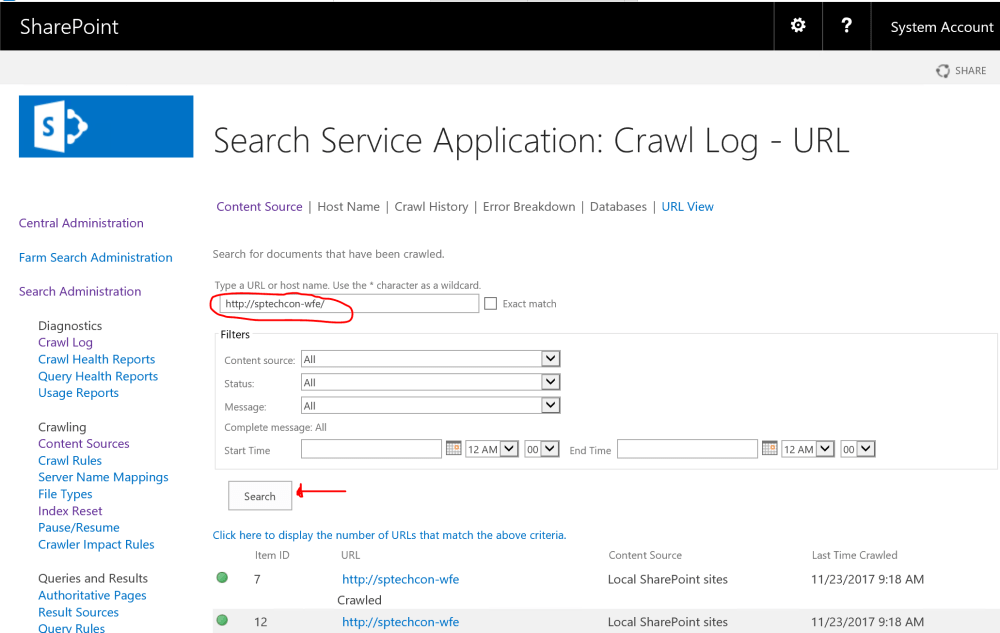 Search Crawl Log for URL