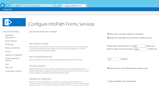 InfoPath Forms Service in Central Administration