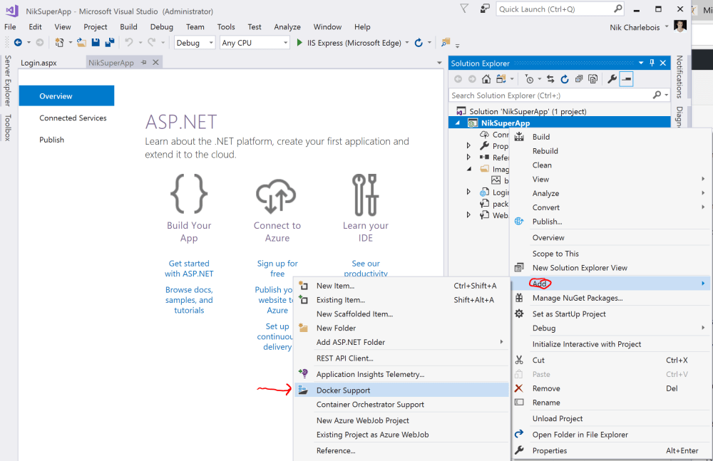 Add Docker Support in Visual Studio