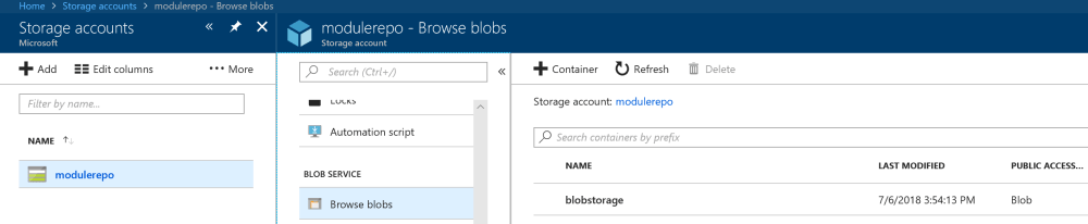 Blob Entry in Azure