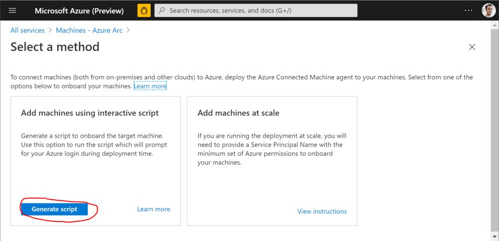 Generate Script to on-board Azure Arc Server