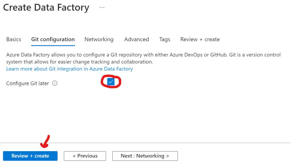 Disable Git integration for Azure Data Factory