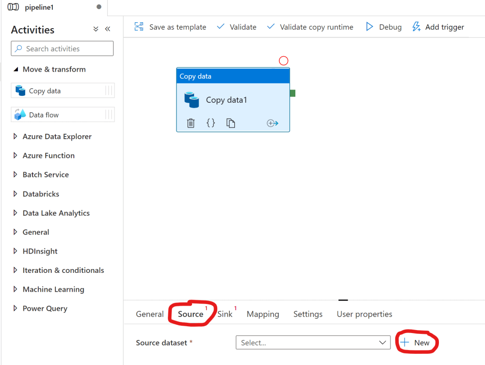New source for a copy data activity in ADF
