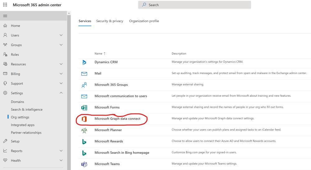 Microsoft Graph data connect settings in Office 365 admin portal