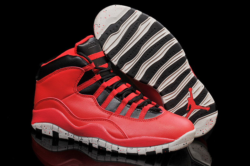 Air Jordan 10 Red Cement Remastered For 2015 Vivid Red Black White Cement Shoes