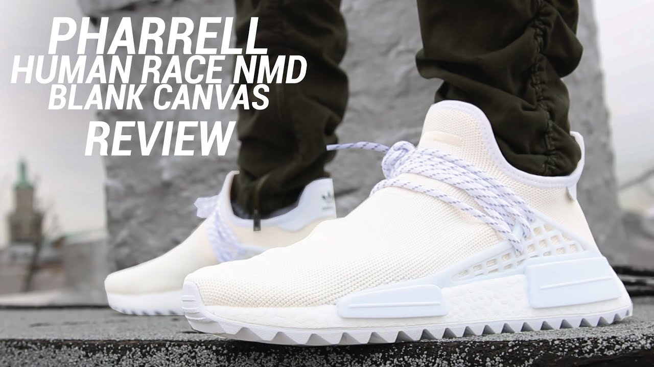 Adidas Pharrell Hu NMD Trail Holi lienzo en blanco en el examen