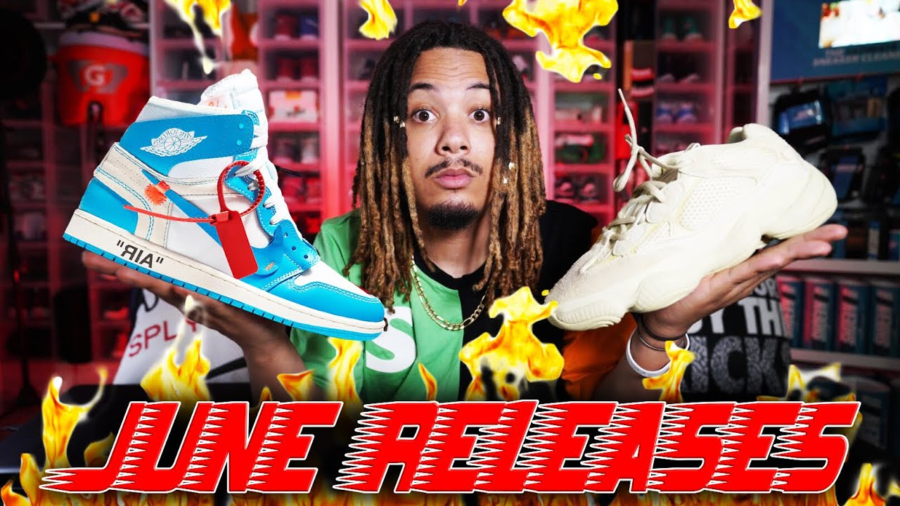TOP SNEAKER RELEASES OF JUNE 2018 OFF WHITE X JORDAN 1 YEEZY 500 JORDAN 4 CACTUS JACK MORE - TOP SNEAKER RELEASES OF JUNE 2018 !!! OFF WHITE X JORDAN 1 | YEEZY 500 | JORDAN 4 CACTUS JACK & MORE