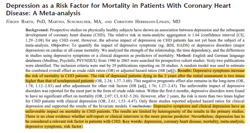 cardiovascular disease and depression