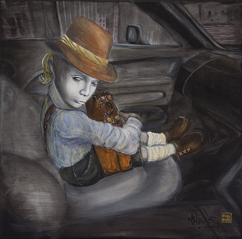 child, hitchhiker, story painting
