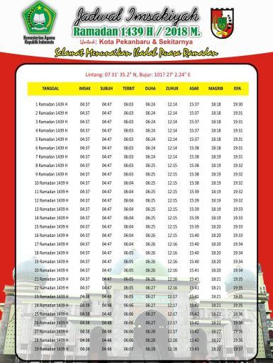 Jadwal Imsakiyyah Puasa Ramadhan 1439 H 2018 Free Download