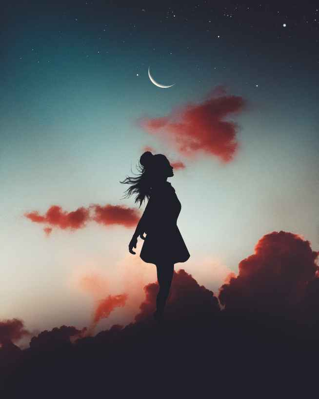 silhouette of girl during evening