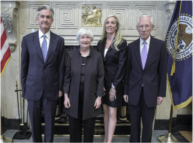 Federal Reserve members, Governor Powell, Chair Yellen, Governor Lael Brainard, and Vice Chairman Stanley Fischer. (Federal Reserve)