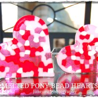 Melted Pony Bead Hearts