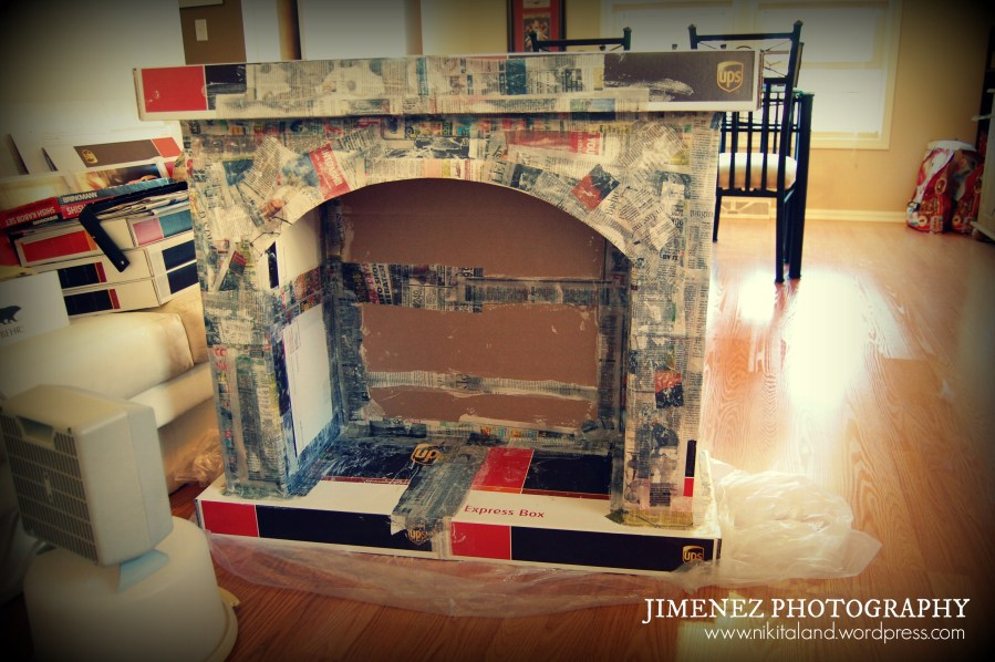 Paper Mache Halloween Projects   Nikitaland PAPER MACHE FIREPLACE