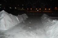 Clean driveway at night
