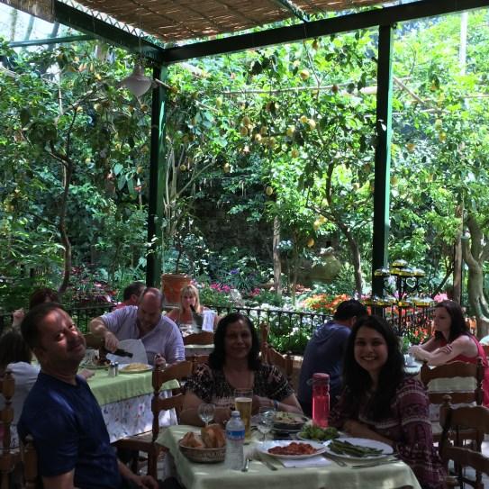 Eating under the lemon trees
