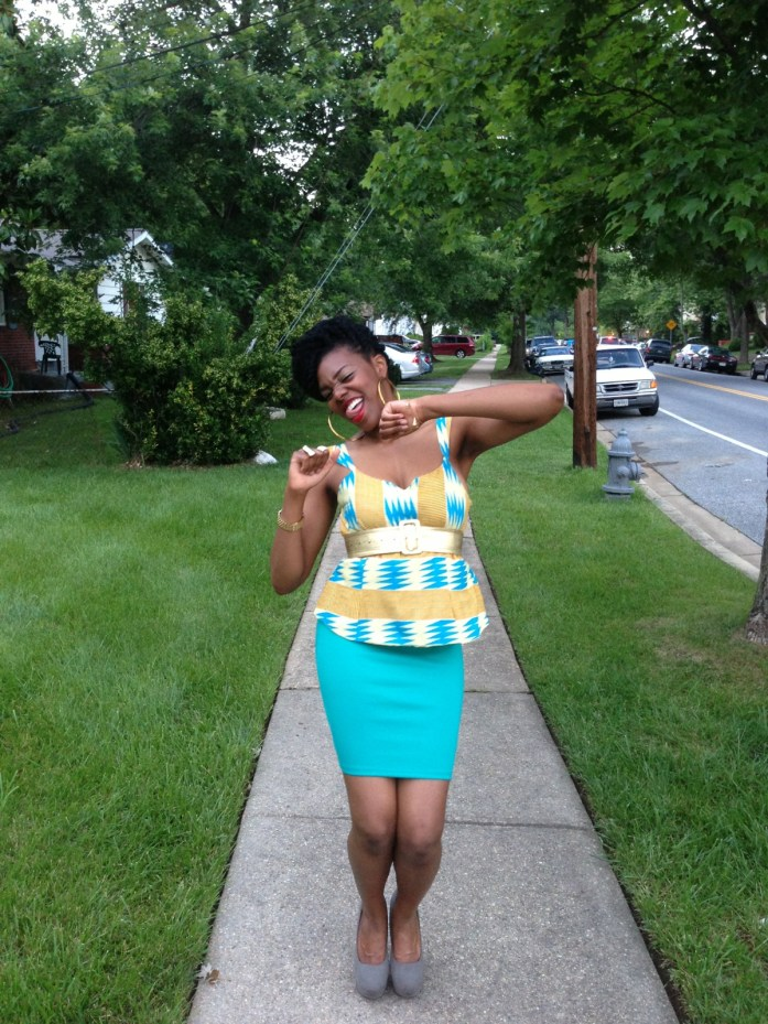 kente-print-peplum-top-with-a-teal-blue-pencil-skirt-5