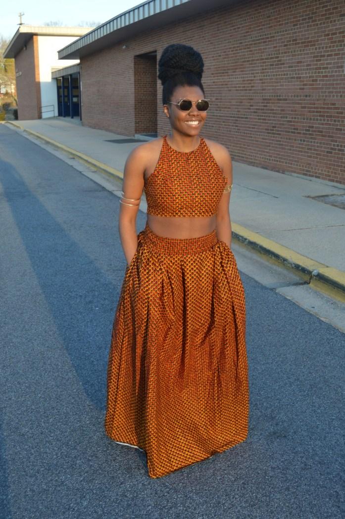 Nikki Billie Jean Red Ankara Print Crop Top &  Maxi Skirt 6