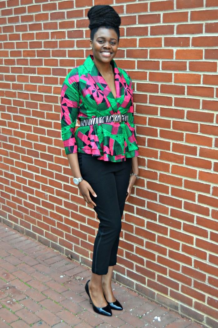 Nikki Billie Jean Pink and Green Ankara Print Peplum Jacket 12