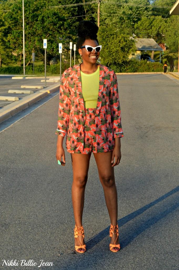 Nikki Billie Jean ASOS Pineapple Print Blazer & Shorts with Steve Madden Maiden Lace Up Sandal Heels 4