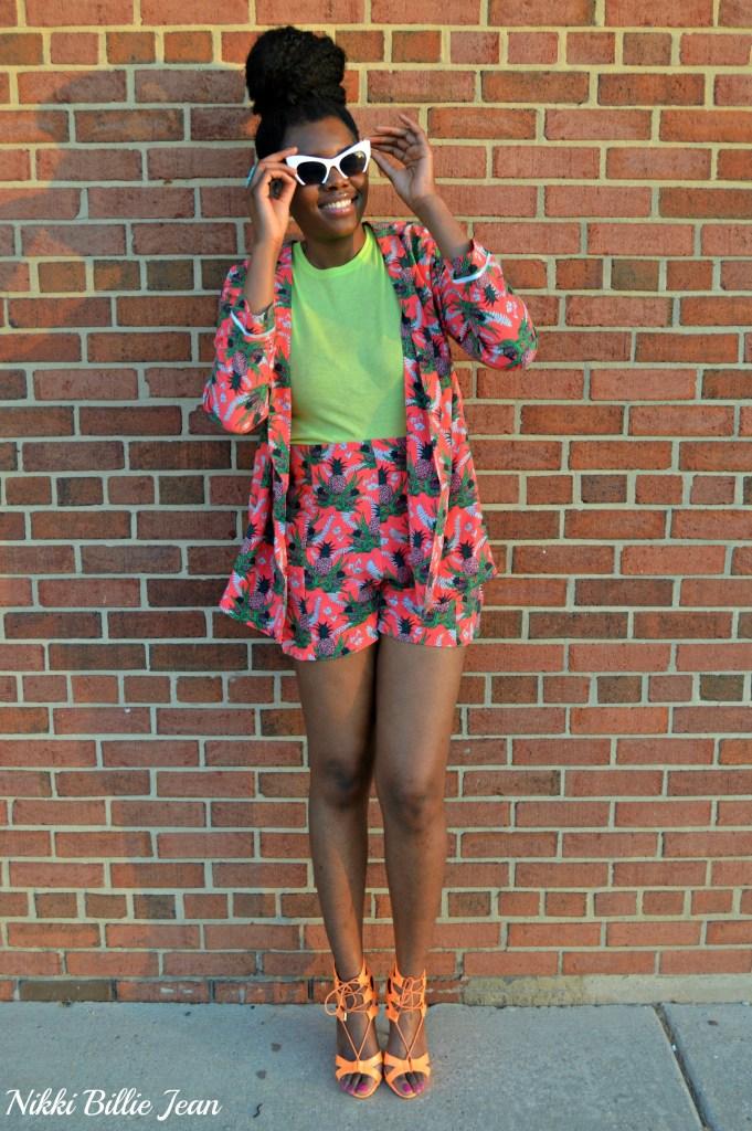 Nikki Billie Jean ASOS Pineapple Print Blazer & Shorts with Steve Madden Maiden Lace Up Sandal Heels 6