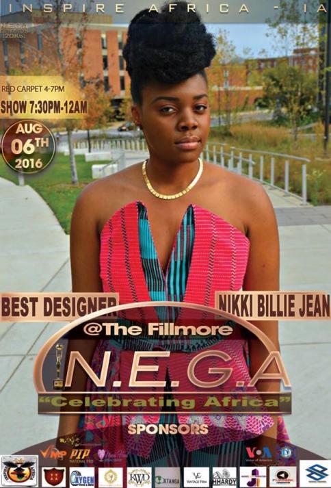 Nikki Billie Jean nominated for Best Designer at N.E.G.A. Awards 2016
