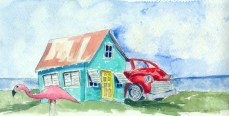 Love Shack Original Watercolor Framed $75 Cards and prints are available.
