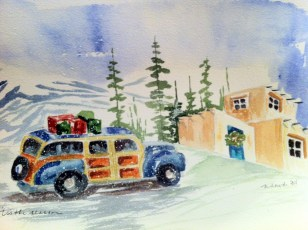 Woody in Paradise -Original Watercolor, SOLD Cards and prints are available.
