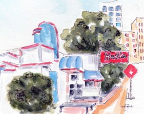 I'll have a Theta Burger Original 5X7 Watercolor of Hut's Hamburgers Framed $85 Cards and prints are available.