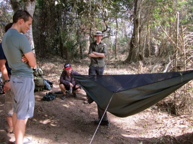 Learning to put up the hammocks