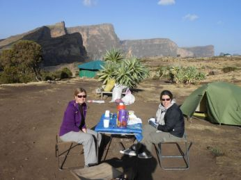 Camp underneath the escarpment we just walked