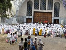 Outside a church