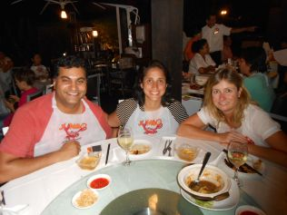 Avi, Ahna and I - pepper crab and a Singapore feast