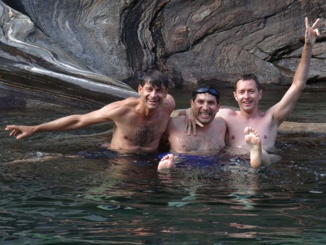 The boys - cold, clear water in a Switzerland valley