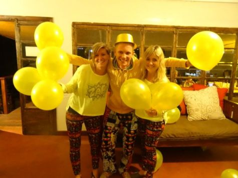 Jess and I at Michael's yellow happy pants farewell party