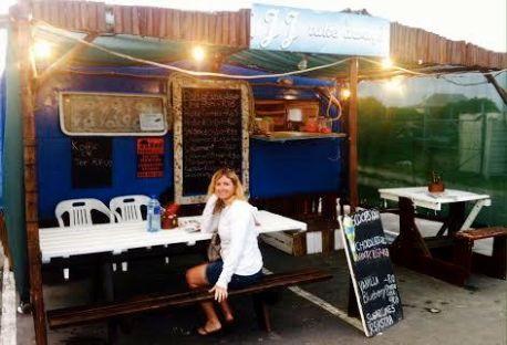 Dinner - calamari burger at the caravan...