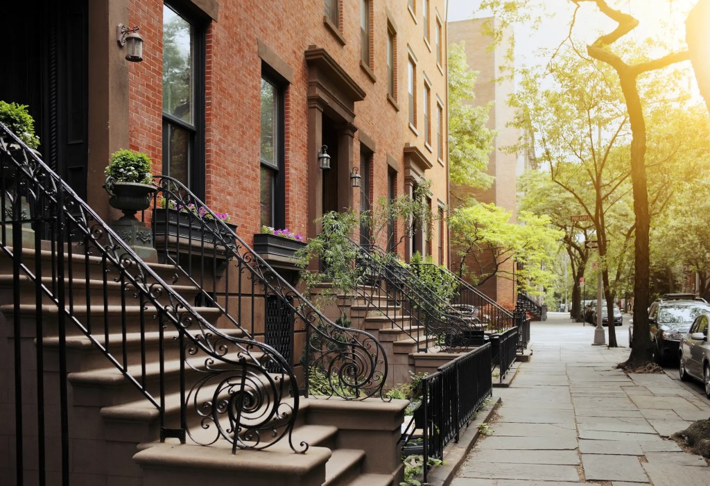View of a typical stoop in Brooklyn, an area popular with first time home buyers in New York City