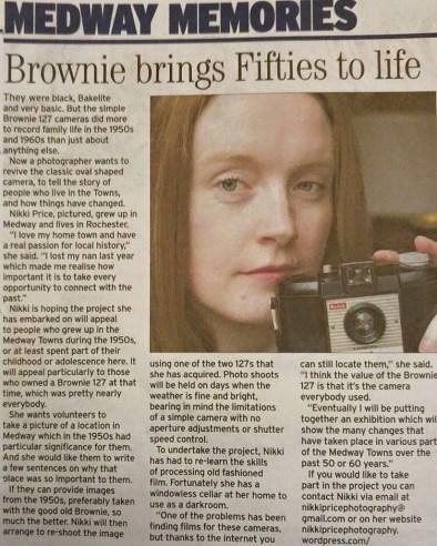 Nikki Price Photography photographer medway kent brownie camera kent messenger article