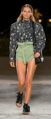 ISABEL MARANT The design meant for Fall is not ready to let go of Spring - its reluctancy is evident in the olive green high shorts - luckily, the dark color is warm enough to distract you from wondering how one can wear shorts in 40 degree weather.