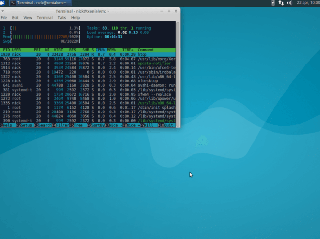 This is the full Xubuntu Desktop 16.04 Xenial iso. Just after the first boot.