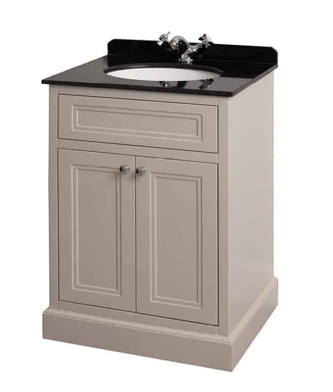 charlotte 600mm vanity unit stone white with black marble worktop