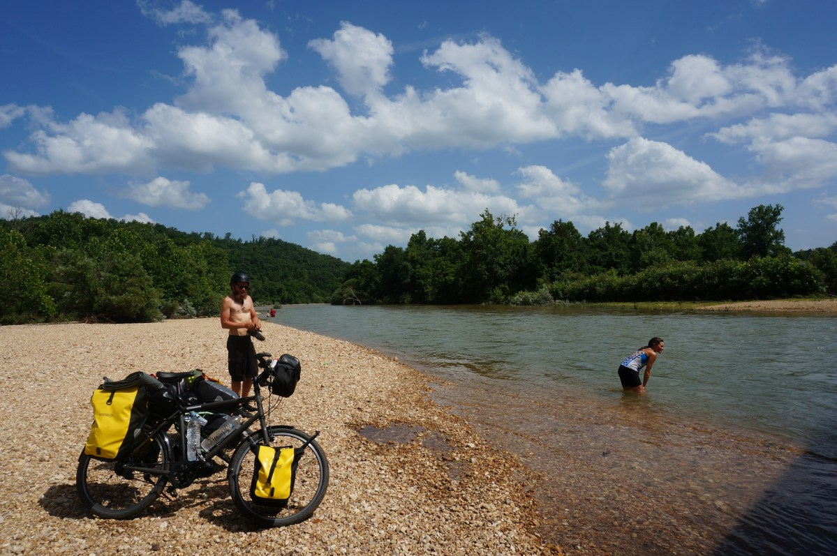 Taking a much-needed dip in the clear Black River in the Ozarks, southern Missouri, along the TransAmerica Trail
