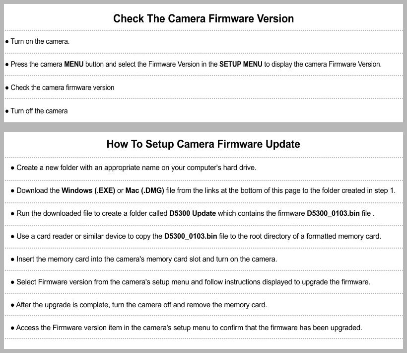 Nikon D5300 Firmware Update - Nikon Software & Firmware Download