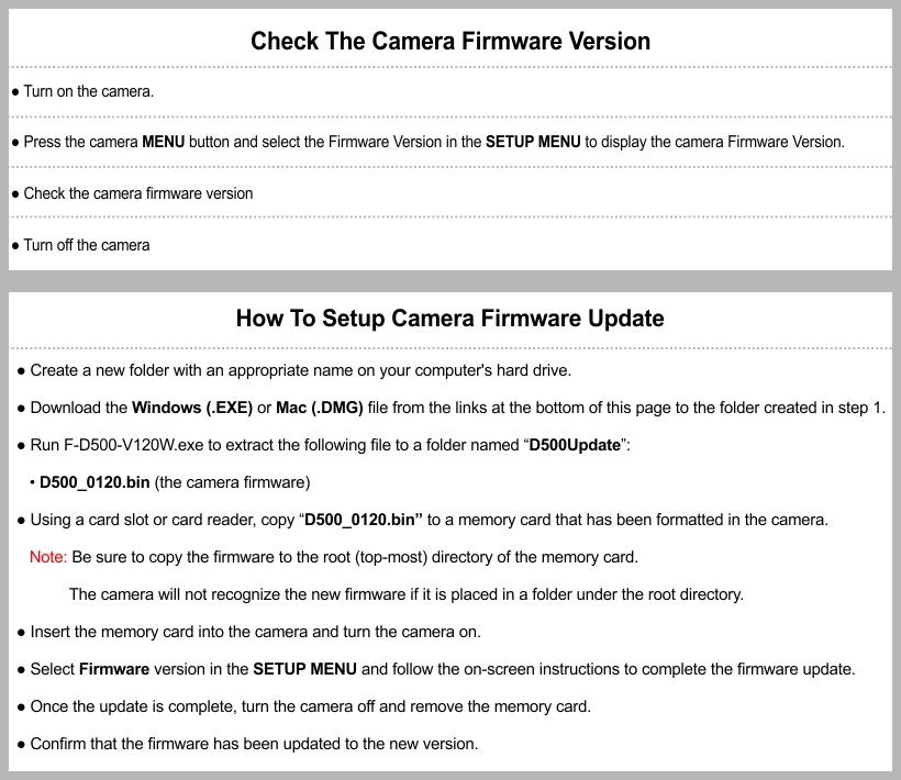 Nikon D500 Firmware Update   Setup User & Manual Download