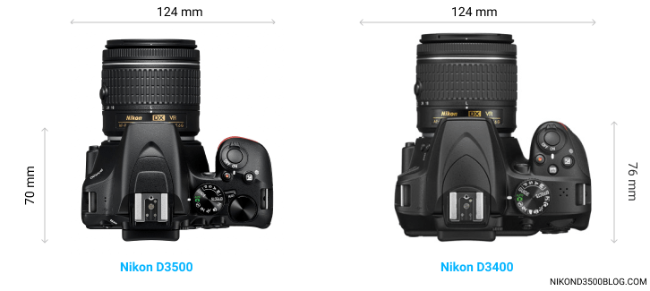 D3500 vs D3400 top view comparison