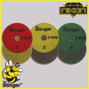 The Stinger 3 Step Wet Brick Polishing Pads by Nikon Diamond Tools for Granite, Quartz, Natural, and Engineered Stone