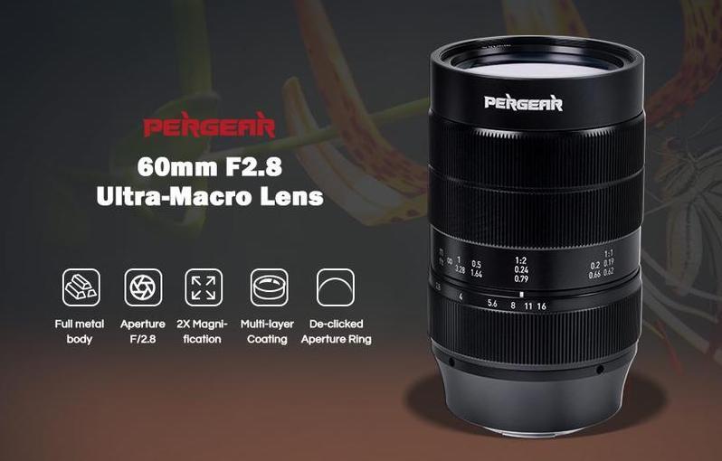 Appena annunciato: obiettivo mirrorless Pergear 60mm f/2.8 ultra-macro 2X APS-C per Nikon Z-mount